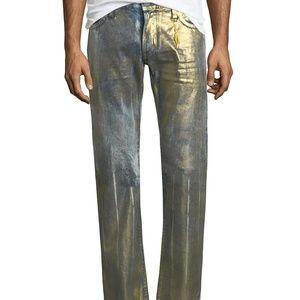 ROBIN'S New Straight Leg Men's 33 Denim Jean Gold